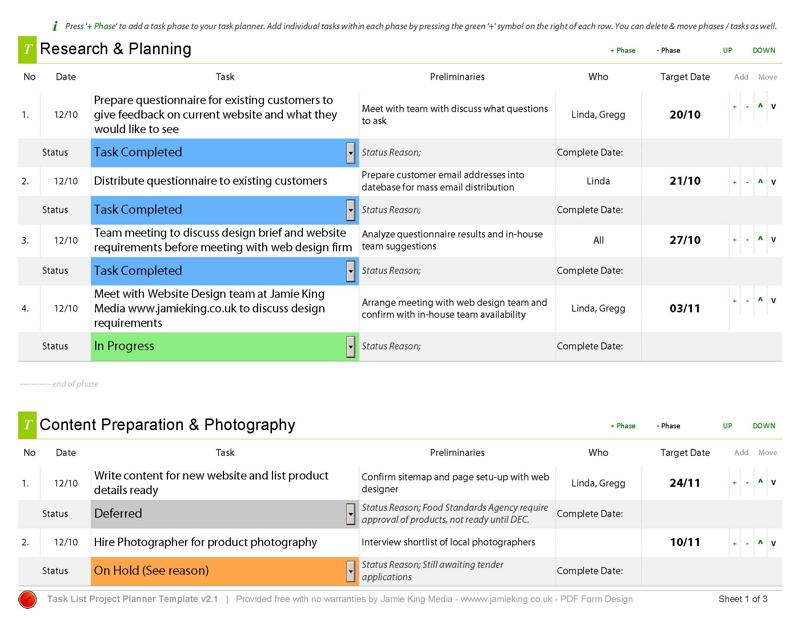 Manager Project Planning Template Tool