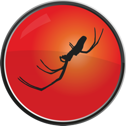 Jamie King Creative Agency Logo, circular with spider silhouette